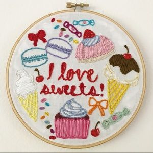 I Love Sweets Candy Embroidered Wall Art Hanging